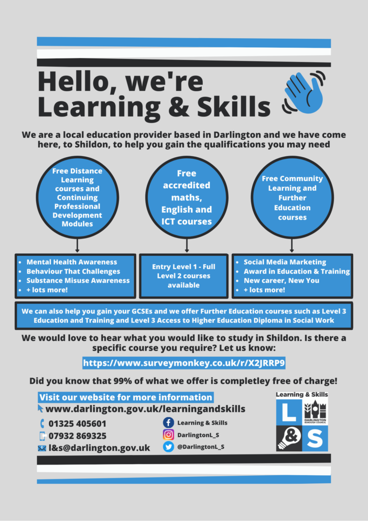 Poster promoting Learning and Skills course from darlington College