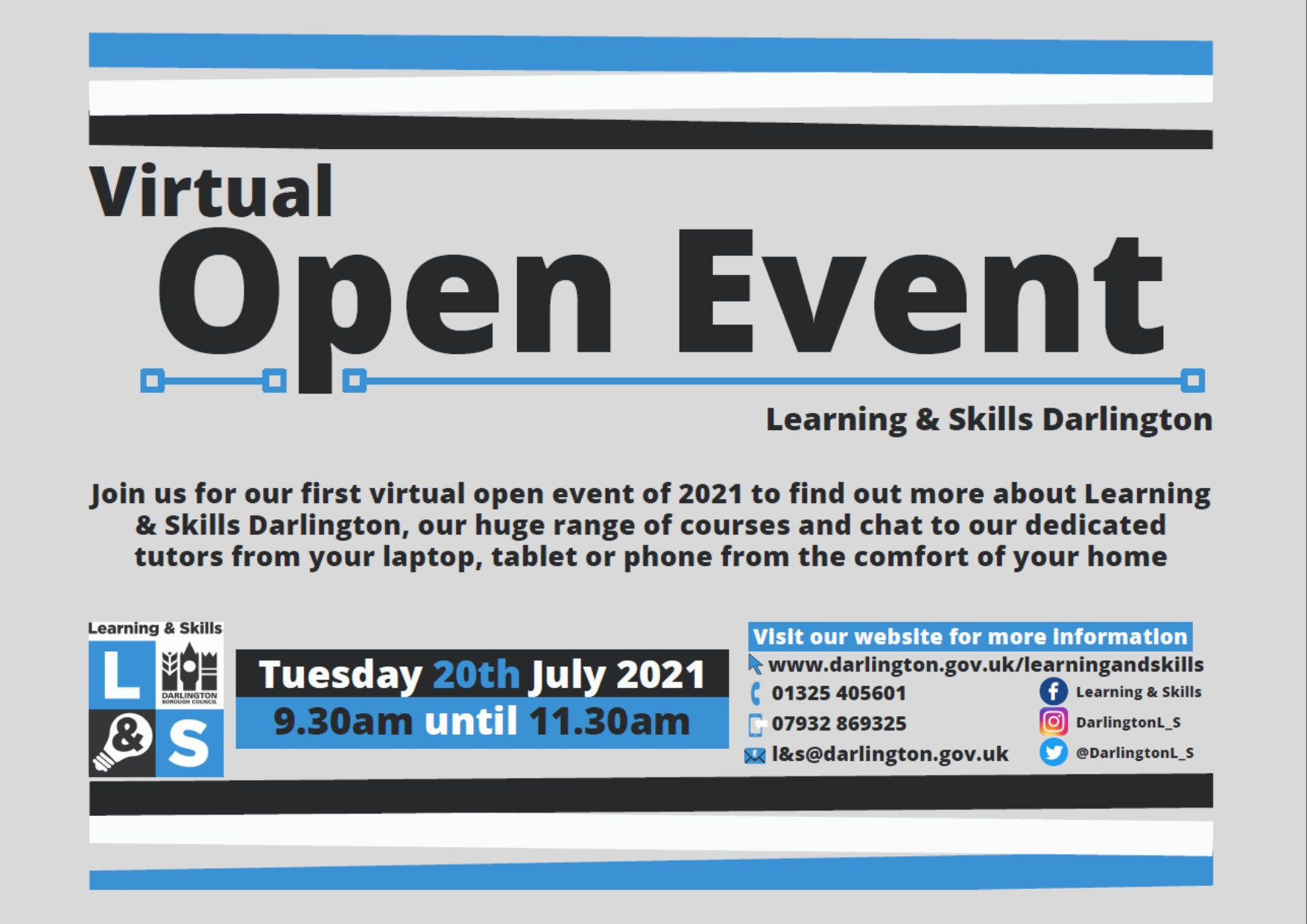 Poster for Virtual Open day event for Darlington College