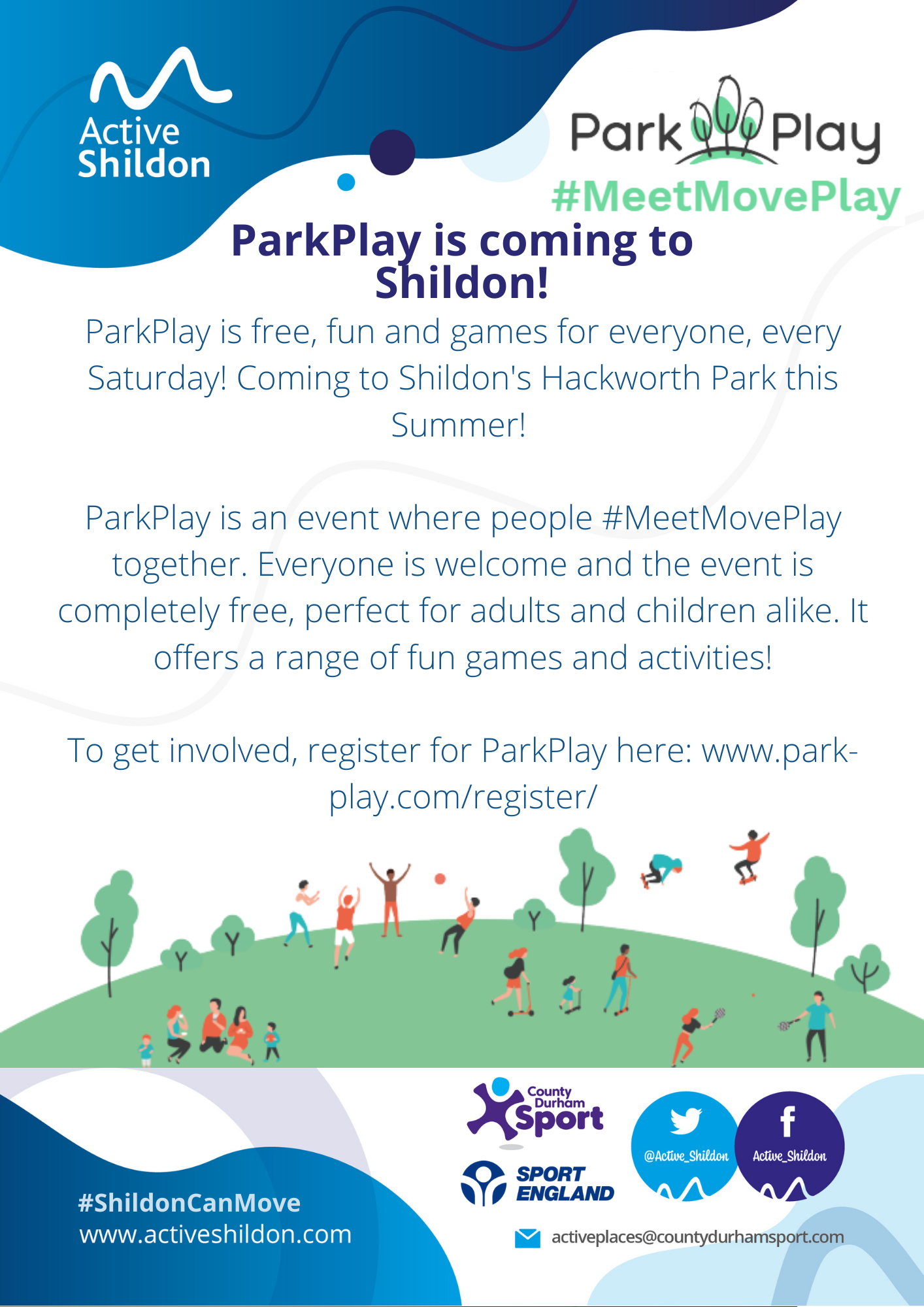 Promotional Poster for Parkplay starting on 10th July in hackworth Park 10.00am - 11.00am