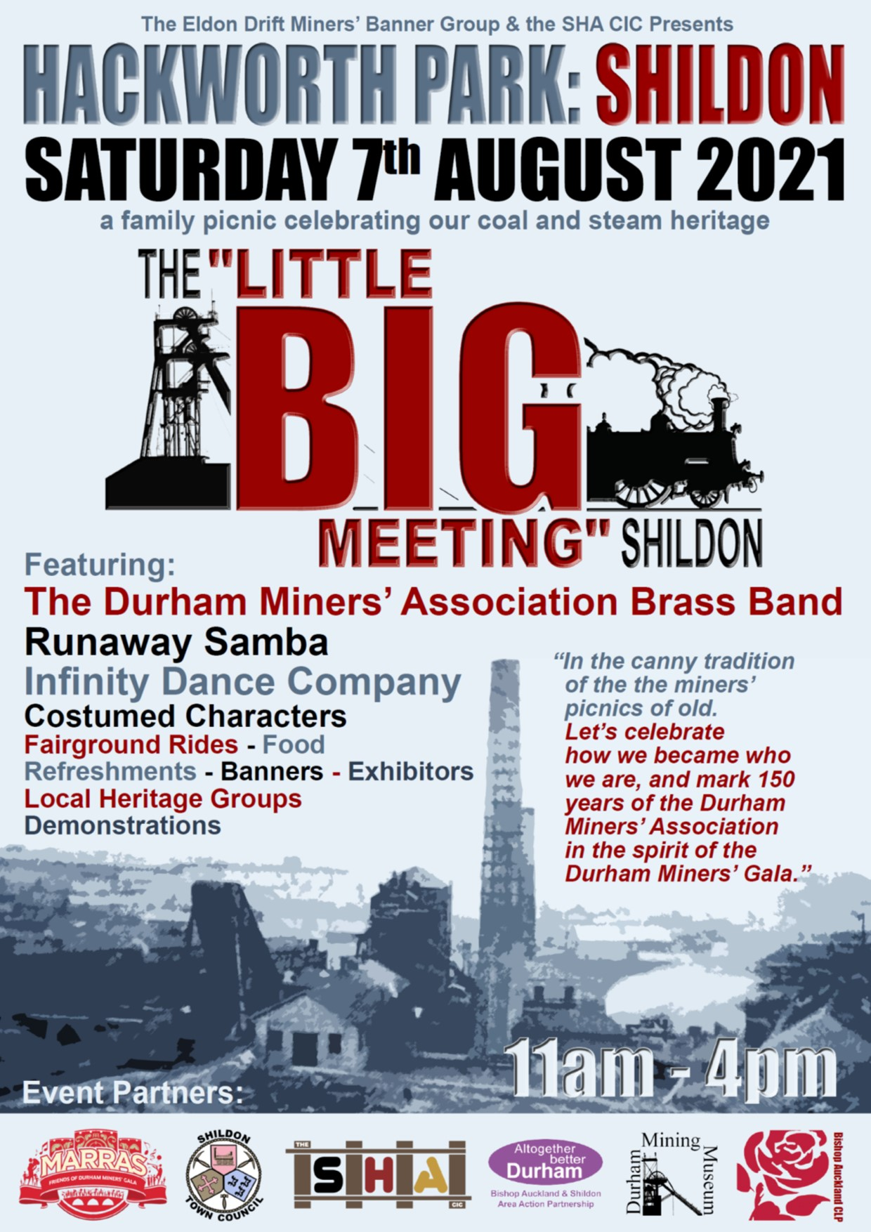 Image of Poster for the Little Big Meeting Shildon Event-Saturday 7th August 2021 11.00AM - 4.00PM