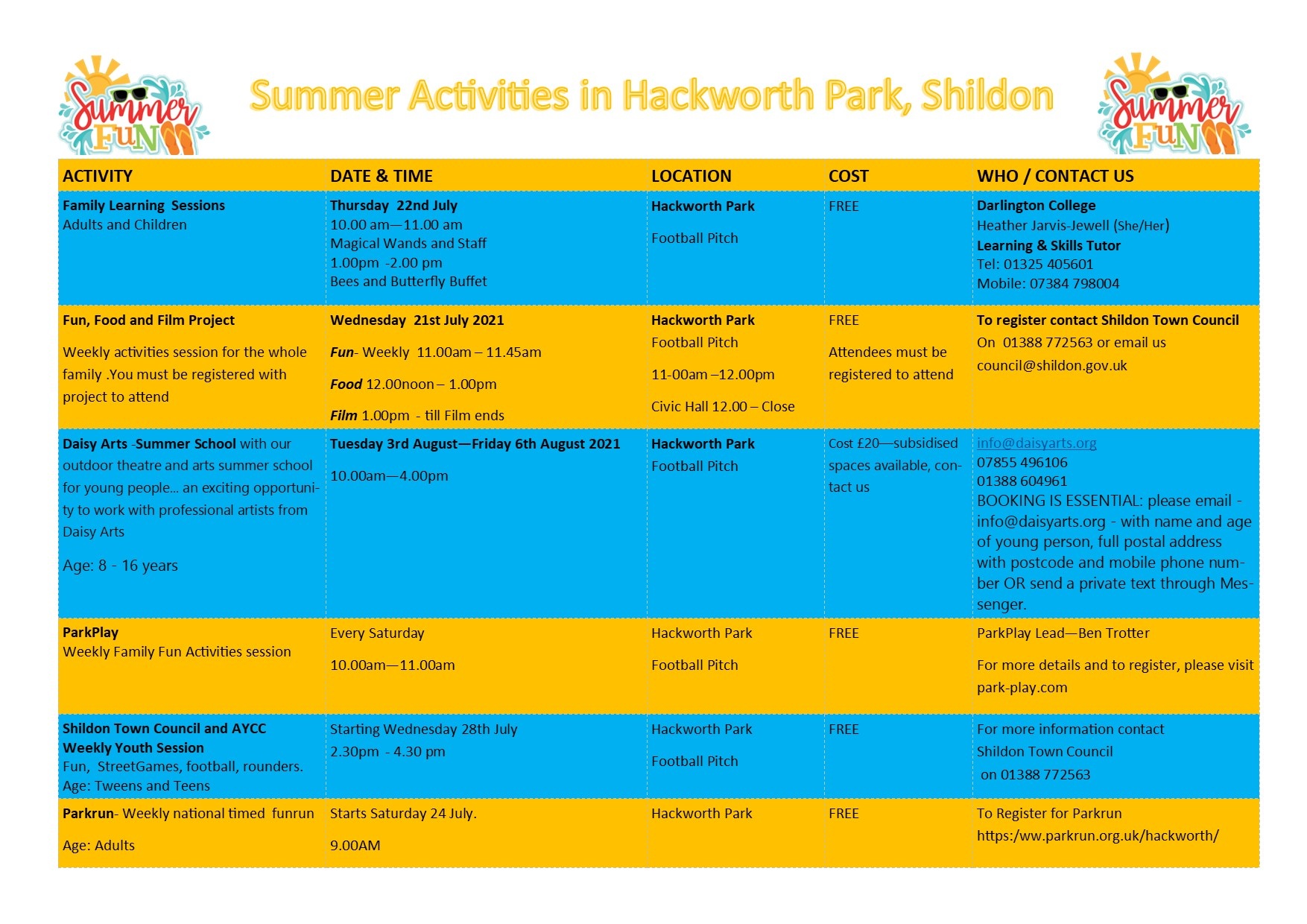 Poster for Summer Activities in Hackworth Park, Shildon