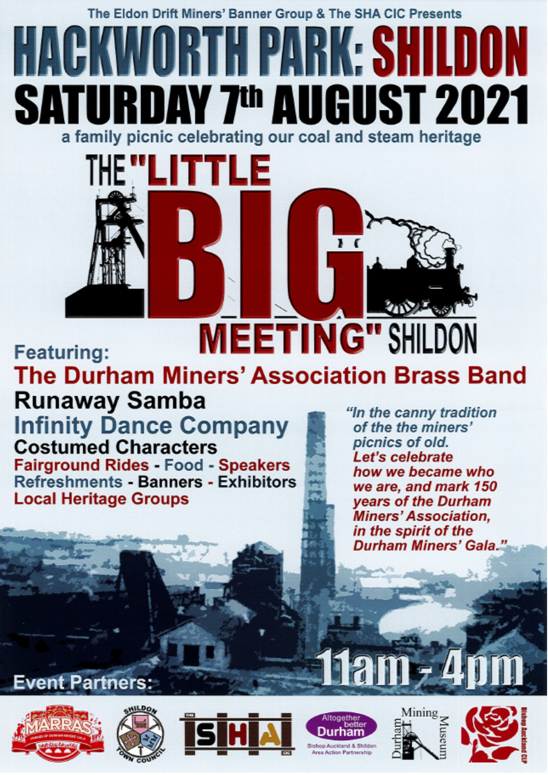 Poster promoting the Little Big Meeting, Shildon Saturday 7th August Hackworth Park 11.00am - 4.00pm